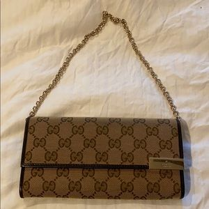 Gucci Women's Brown GG Canvas Chain Wallet